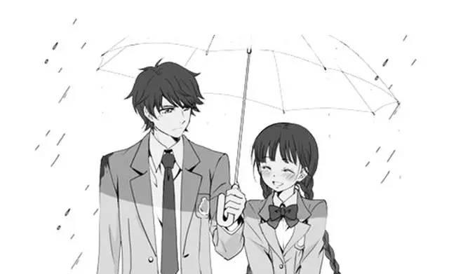 卡通女生淋雨背影