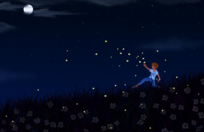 人们发现少年的坟前长出一棵小树,每到夏天的傍晚,就会飞来许多萤火虫
