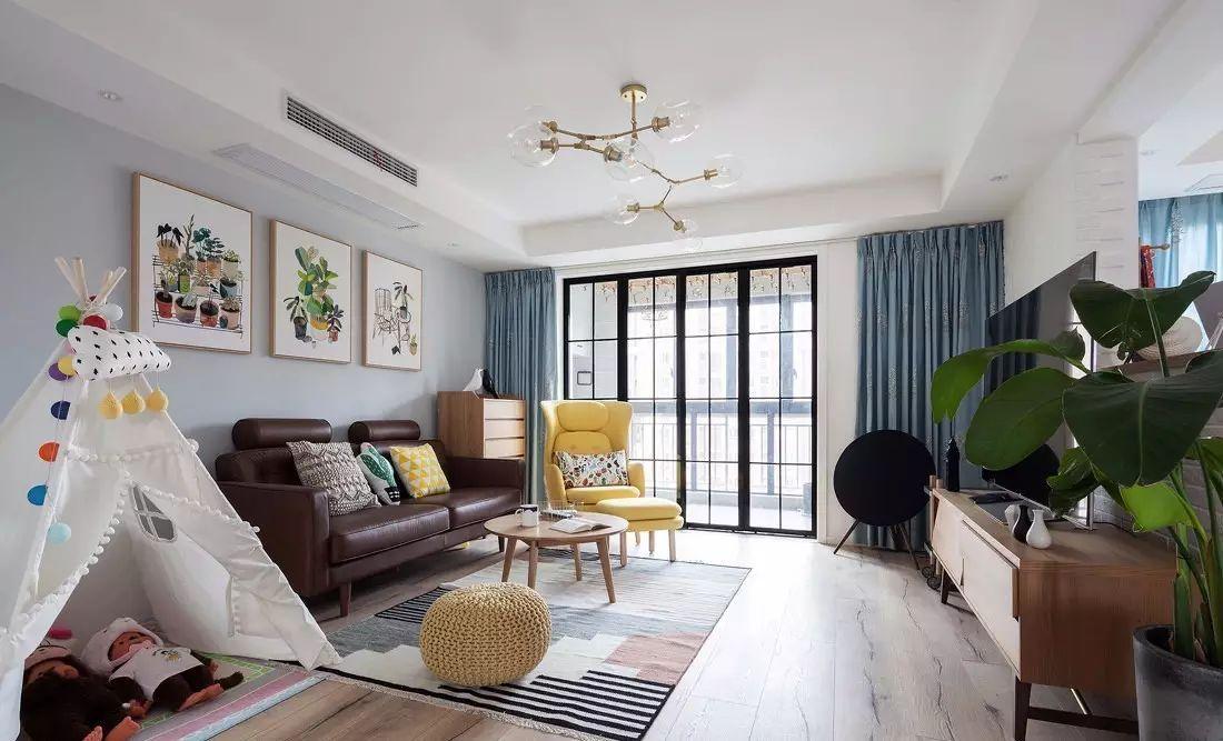 昆明装修:120平方小清新北欧风,客厅小帐篷超可爱!