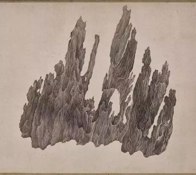 此作在中国画史中意义特殊,即在明确赏石的物理属性。 斗转时空,每个面一一观摩,相当于纸上转山。 我确实在吴彬笔墨的褶皱中产生了一种幻觉,好像突然幻化入境,如蚁随行。 我想,画家在描绘的时候,一定也有同样的感受吧?若加上造云植树,一幅山水画就能凭空而起。      《十面灵壁卷》详解 这么说来,出自吴彬笔端的其它山水奇境,如果自然中难以寻觅,或许只有在赏石中可以借得。