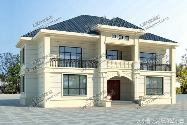 2层农村别墅很讨喜,35w盖出的房子经典洋气,17.1X12米占地190平