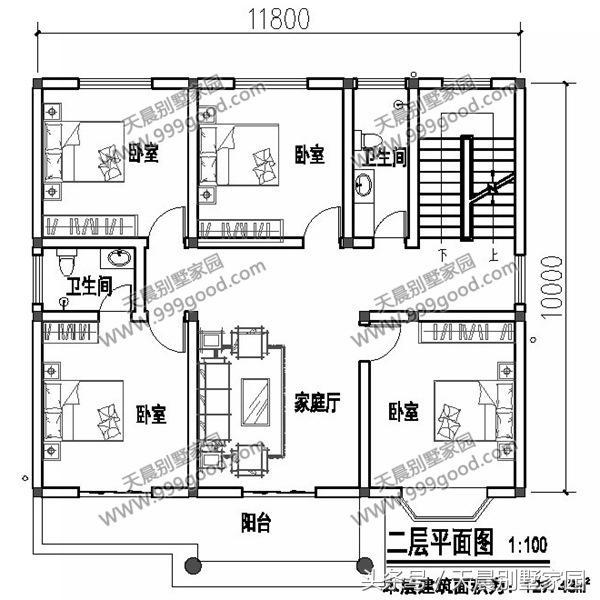 11.8米x10米农村时尚二层小别墅,布局接地气,25万建回家!图片