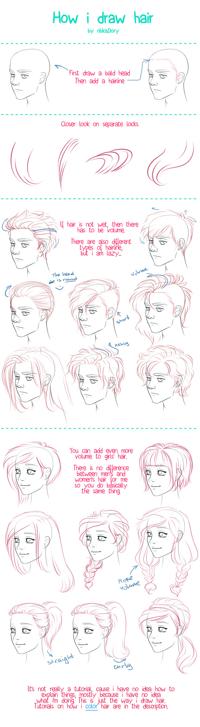 头发的画法,很丰富的参考