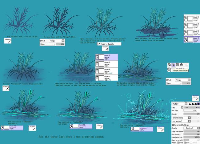 树木、草丛的画法过程,学习一发!
