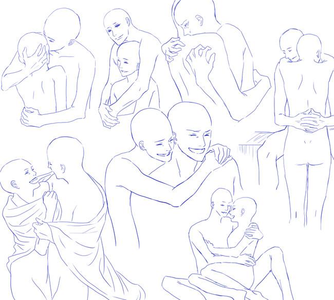 情侣姿势动作怎么画?来一波秀恩爱姿势素材