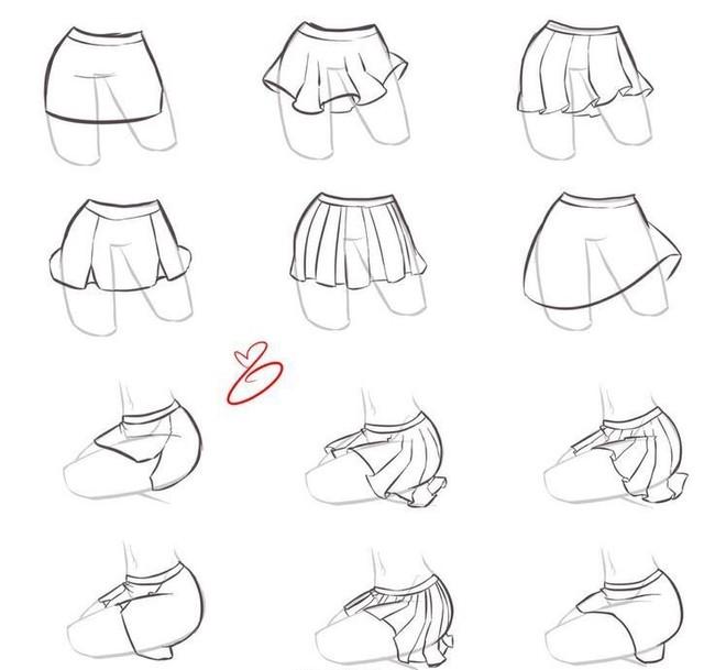 动漫少女短裙画法,超多的呢