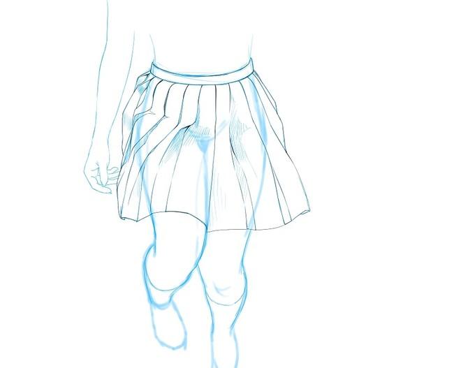 动漫手绘学习教程之百褶裙参考