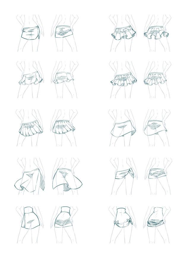 漫画教程图解第三期:少女短裙与短裤绘画参考