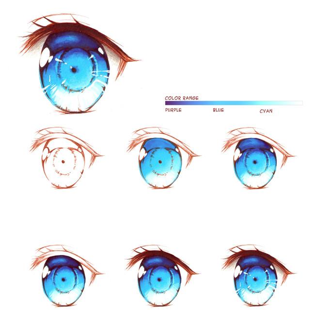 漫画教程图解第七期:动漫人物眼睛画法上色