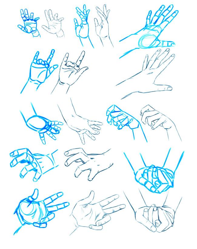 动漫人物手的画法以及各种动作参考