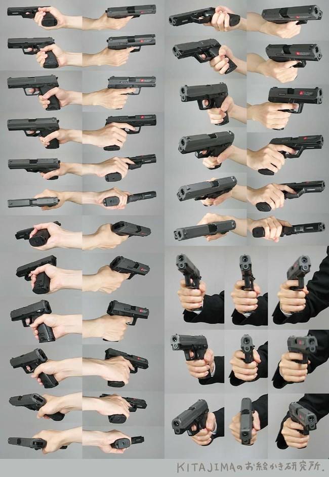一些拿枪的手部姿势参考