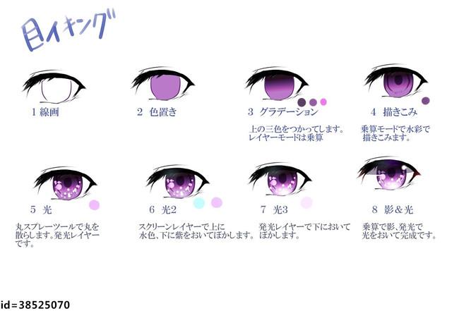 动漫人物眼睛的画法与上色—轻微课绘画参考素材