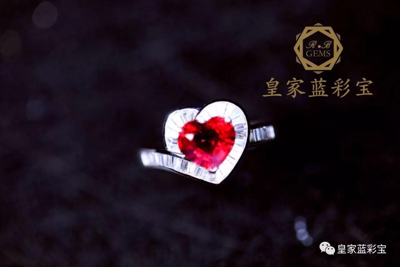 【皇家蓝彩宝・高级定制】超美的心形戒指,心形和梯钻的搭配相得益彰