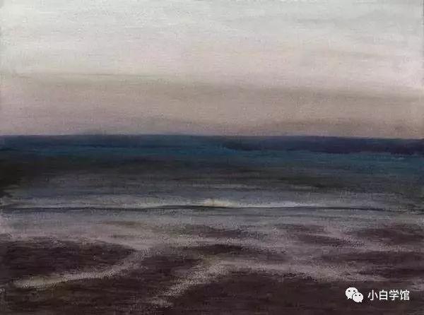 他的水彩画《碧海蓝天》《空气沙滩海浪》《威海海岸》《面对大海春暖