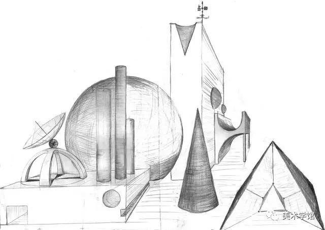 设计素描  是以比例尺度,透视规律 三维空间观念  以及形体的内部图片