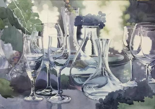 水彩记得要薄,突出玻璃物体的质感,如果说水粉或油画即可涂得很厚实图片