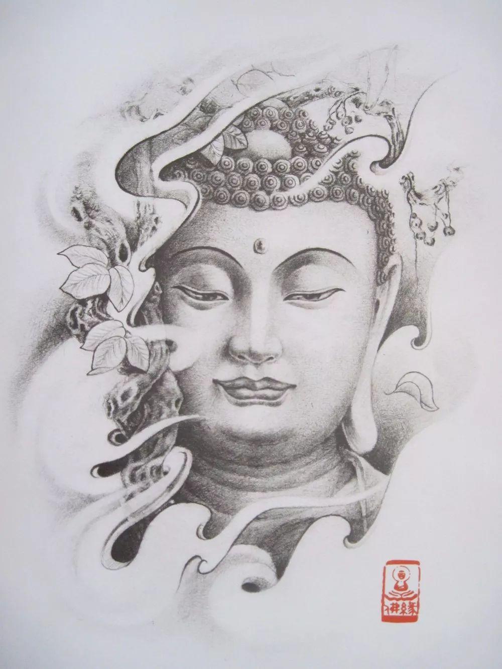 我是雕刻师,纹身雕刻素描手稿素材佛像