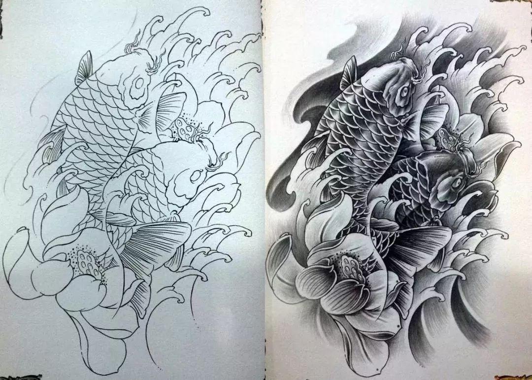 我是雕刻师,纹身雕刻素描常见传统手稿(153款)