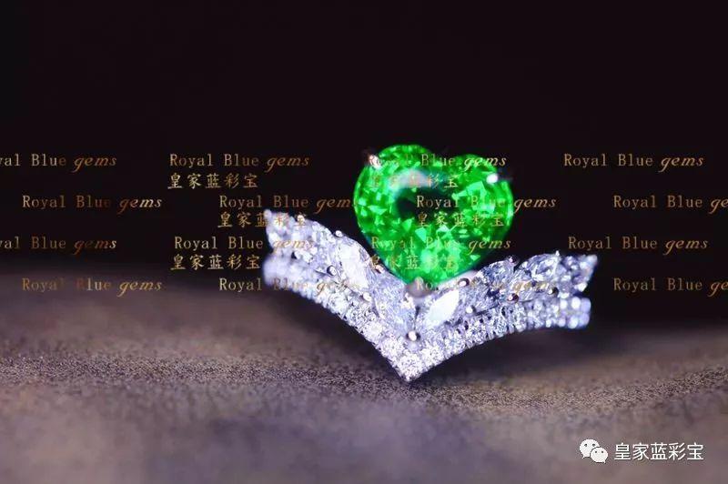 【皇家蓝彩宝.高级定制】唯美的沙弗莱戒指,幽然的沙弗莱