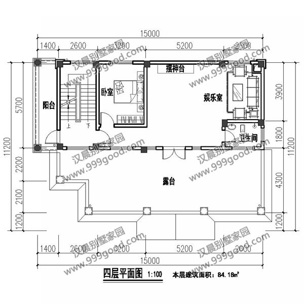 别墅外观效果  建筑总的情况:开间15米,进深11.2米,层高一层3.6米,其余每层 3.3米。占地面积141平,总建筑面积594平米。  平面功能: 首层设有2间卧室,2卫生间,在南面有一个小门,方便日常出行。厨房、餐厅依旧是大热的半开放式推拉门设计。  楼梯间都有独立的开门,每一层相对比较独立,私密性得到更好的保障。  每人一层,所以厨房餐厅每层都要有,一层3间卧室足够用了。大露台和公用的娱乐室让别墅更加出色。  网址:www.