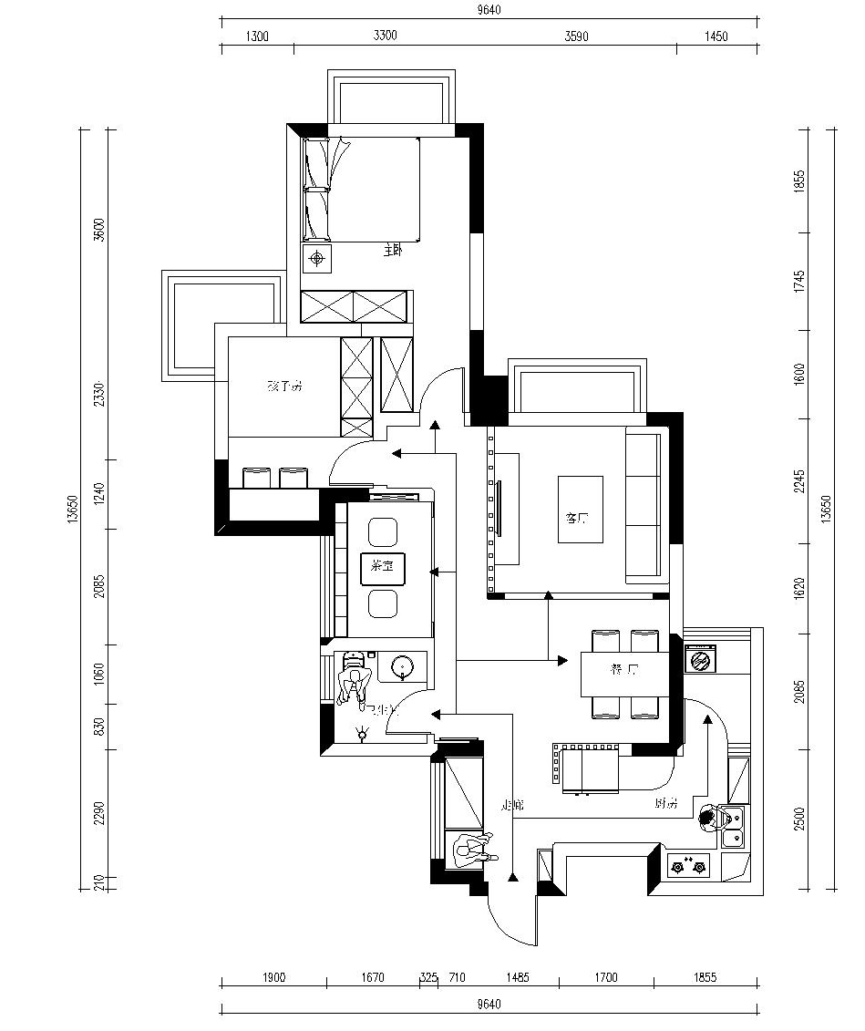 房子78平方设计平面图