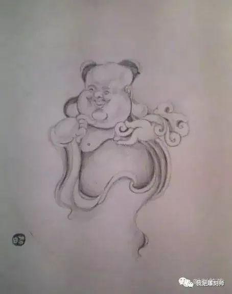 我是雕刻师,纯手工雕刻素描纹身人物画稿素材