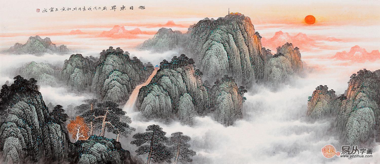 这幅王宁老师的青绿泰山题材山水画,工写兼备,层次感强,山之大气图片