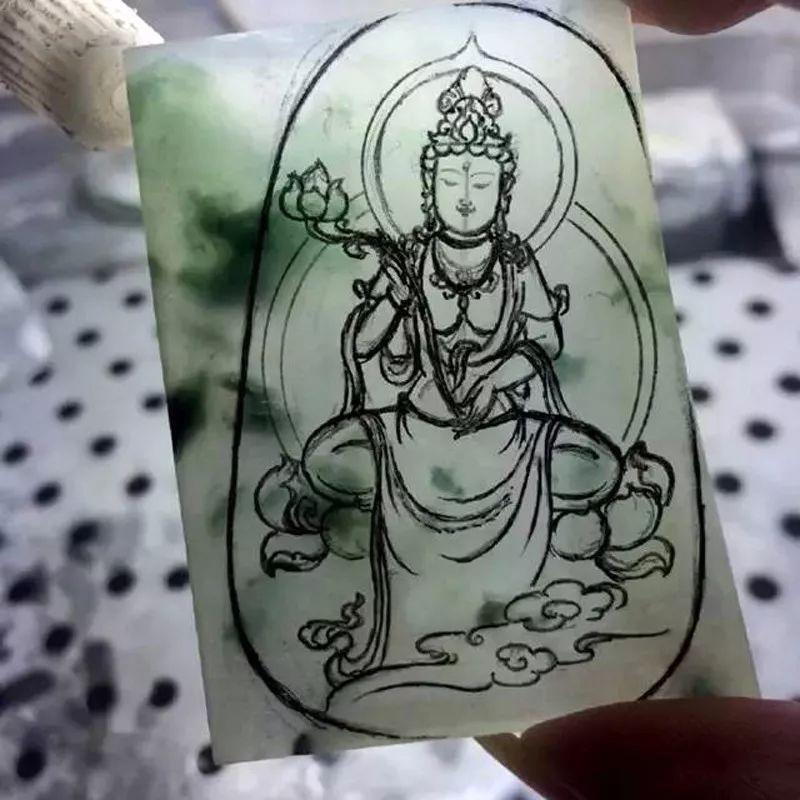 佛系精美玉雕手绘素材手稿欣赏