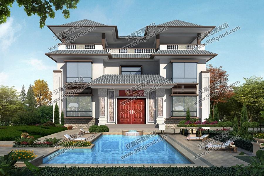 又是一款新中式经典现代别墅,15x20米那么大的宅地,大院子前面还有