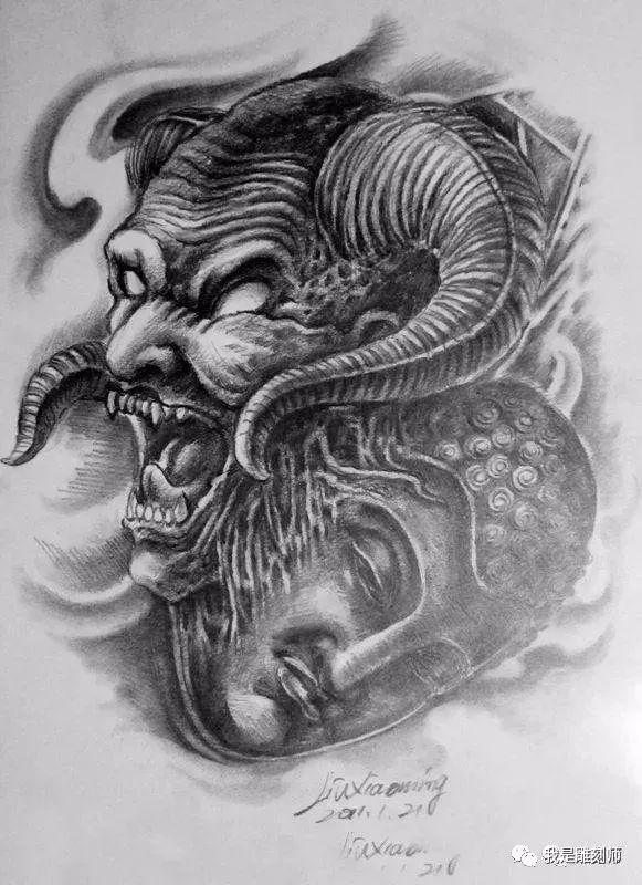 我是雕刻师,佛像纹身雕刻素描手稿素材图谱