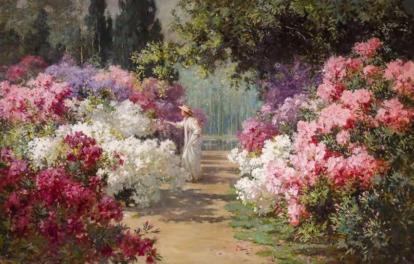 油画课程376|原来19世纪的花园风景画里,藏着天堂的模样