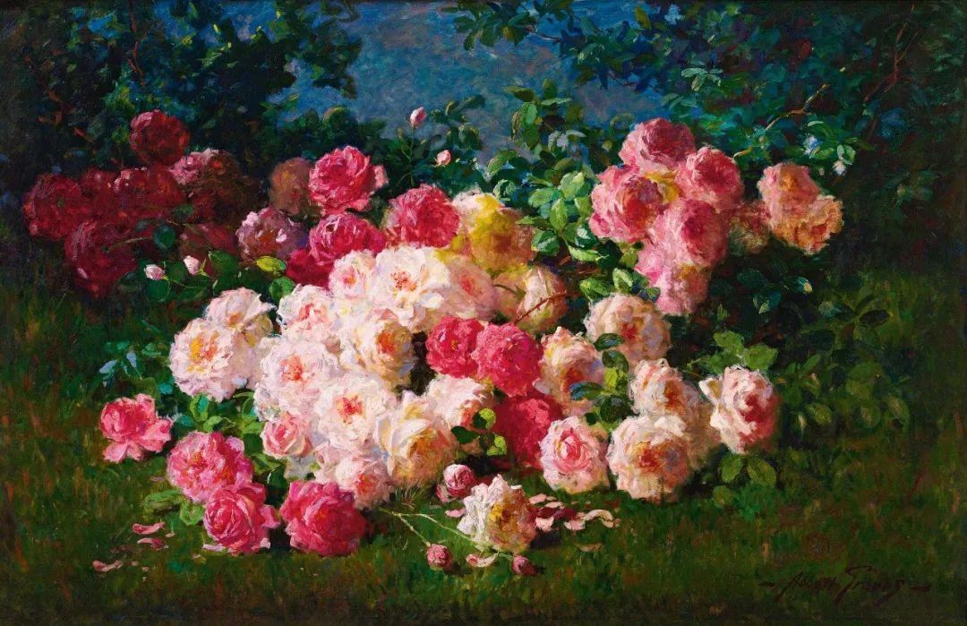 油画课程376 原来19世纪的花园风景画里,藏着天堂的模样