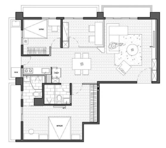 79㎡三室两厅老房子翻新装修效果