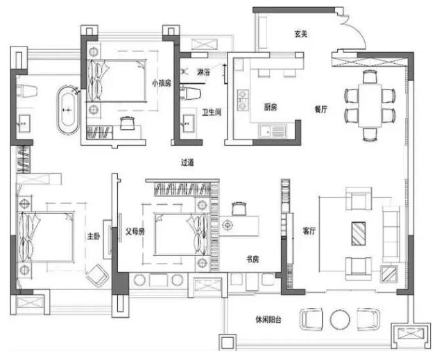 武汉139平大户型新中式装修效果图