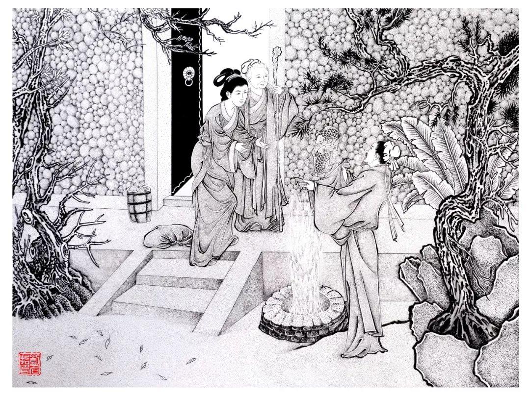 当代吴道子,点墨传承人,白描点墨大师刘名哲