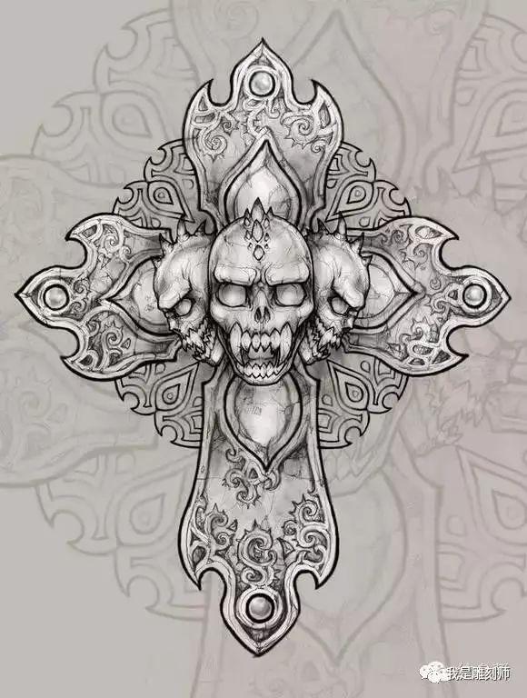 我是雕刻师=素描手稿:十字架纹身雕刻素材