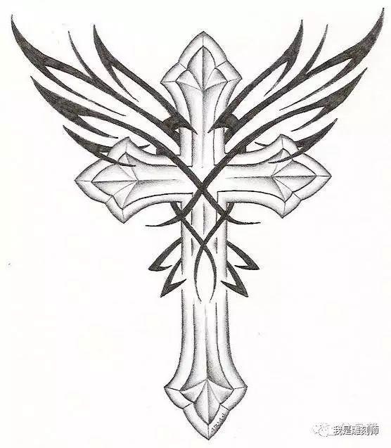 我是雕刻师=素材素描:十字架手稿雕刻公章用word2010绘制纹身图片