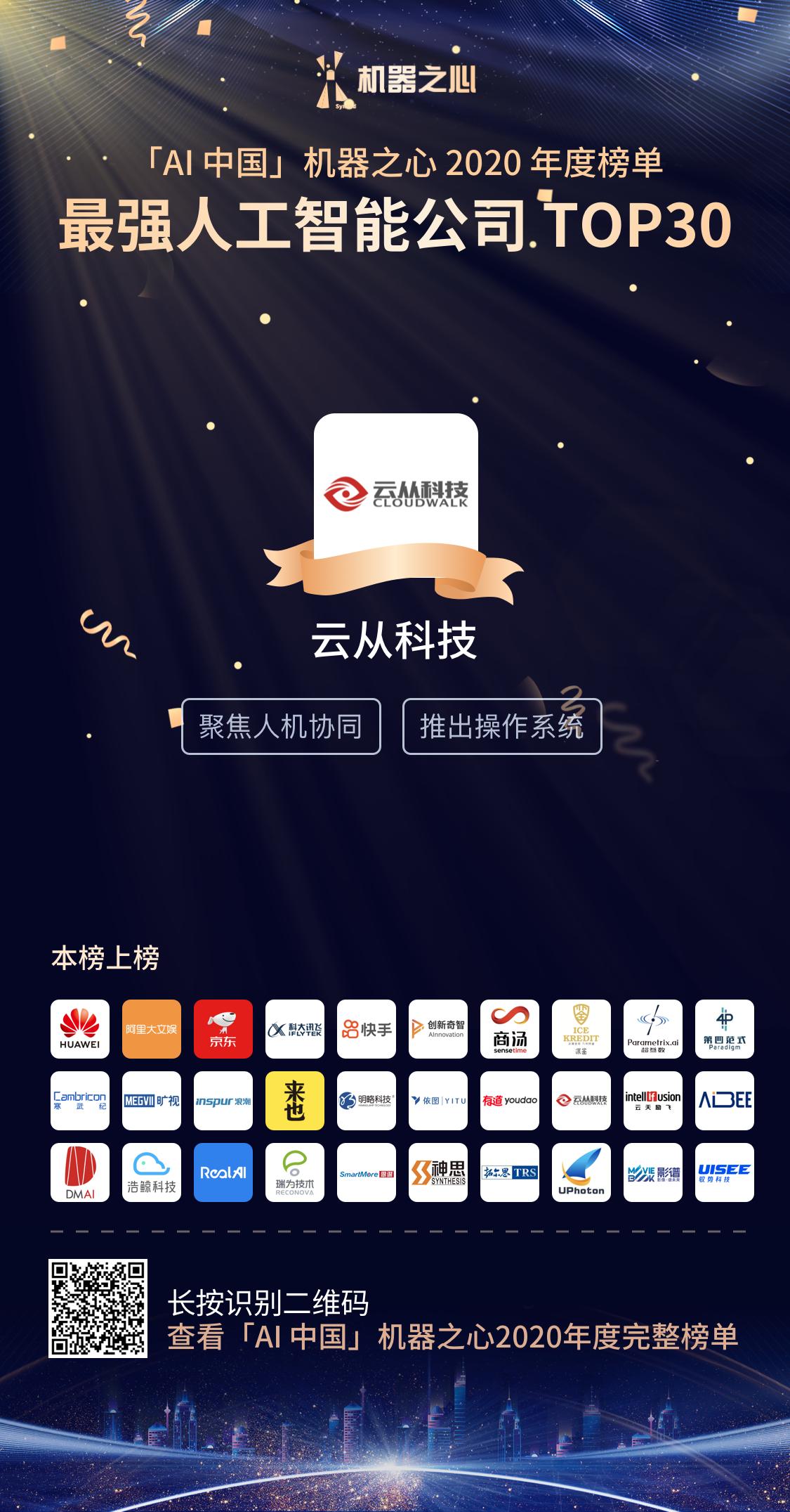 云从科技荣膺最强人工智能TOP30