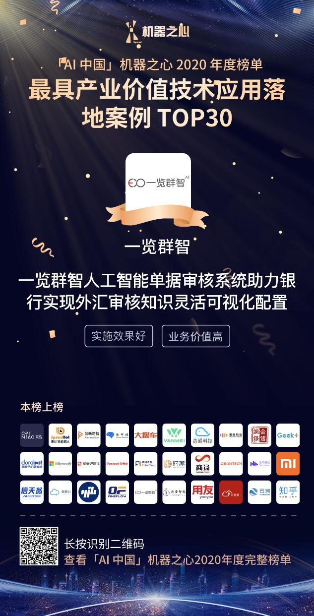 """一览群智荣获机器之心""""AI中国·最具产业价值技术应用落地案例TOP30"""""""